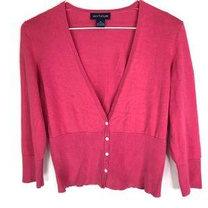 Ann Taylor Cardigan Silk Knit Deep V-Neck Buttons